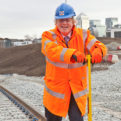 Mayor of London Boris Johnson laying tracks at New Bermondsey